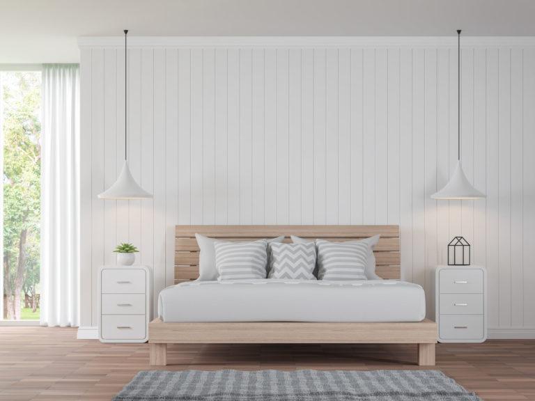 drewniana boazeria- sypialnia